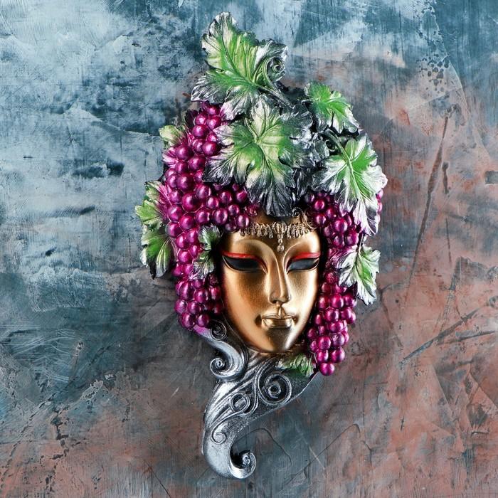 """Венецианская маска """"Виноград"""" золото  30см"""