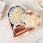 Набор банный, 4 предмета: 2 мочалки, расчёска, зеркало, цвет МИКС