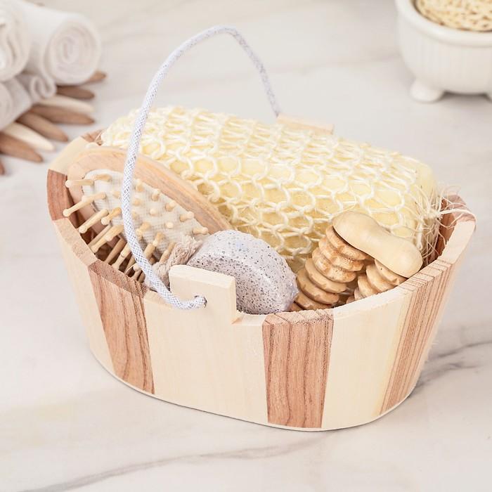 Набор банный, 4 предмета: мочалка, пемза, массажёр, расчёска