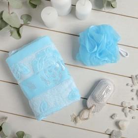 Набор банный, 4 предмета: полотенце, расчёска, пемза, мочалка, цвет МИКС