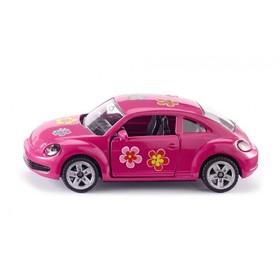 Коллекционная модель автомобиля Volkswagen Beetle, розовая, масштаб 1:64