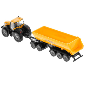 Игрушечный трактор с прицепом-кузовом JCB, жёлтый, масштаб 1:87