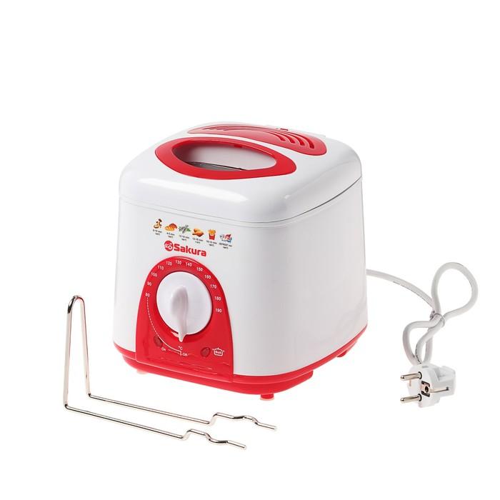 Фритюрница Sakura SA-7654R, 950 Вт, 1 л, антипригарное покрытие, фильтр, красная