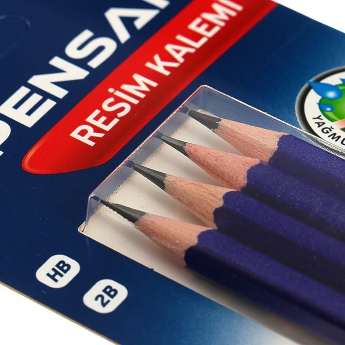Набор карандашей чернографитных Pensan, HB-2B, 4 шт., заточенные, в блистере - фото 373644897