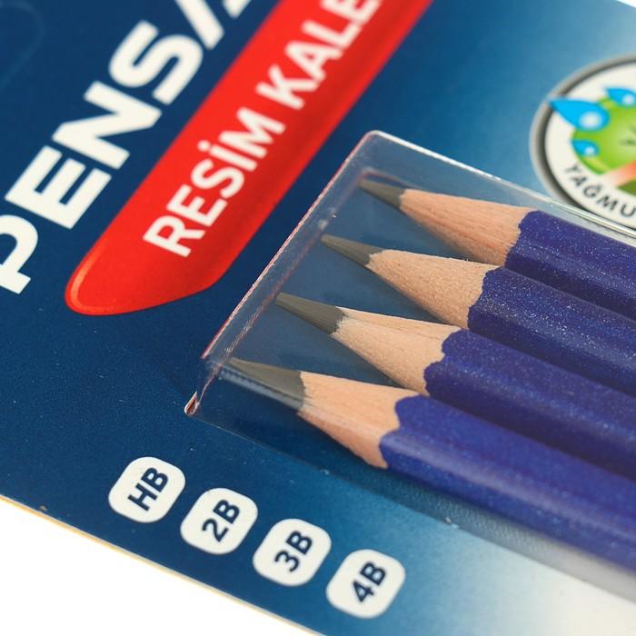 Набор карандашей чернографитных Pensan, HB-4B, 4 шт., заточенные, в блистере - фото 551482684