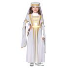 Костюм для лезгинки, для девочки: головной убор, платье, р-р 30, рост 110-116 см, цвет белый