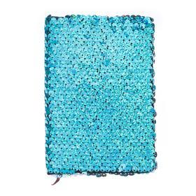 Записная книжка подарочная формат А6, 80 листов, линия, Пайетки двухцветные сине-серебристые