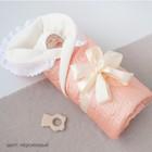Одеяло на выписку «Крошка», размер 100 × 100 см, персиковый