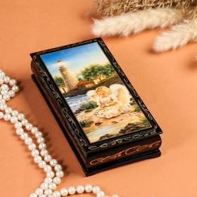 Шкатулка - купюрница «Ангелочки», 8,5х17 см, лаковая миниатюра, микс
