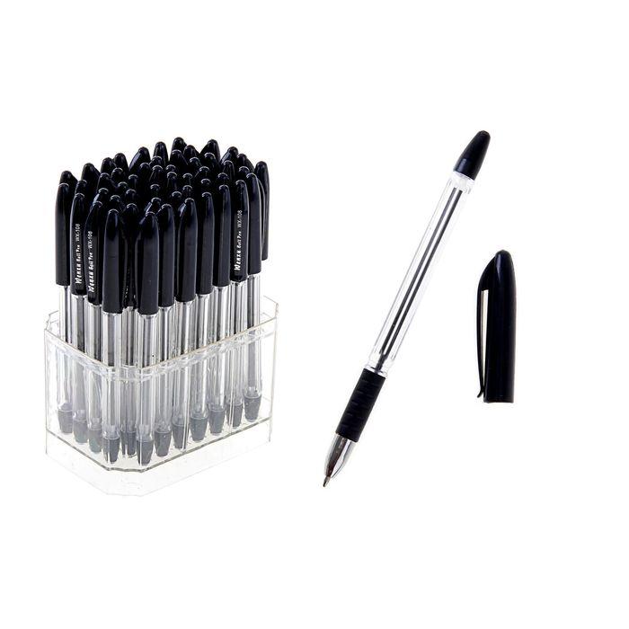 Ручка шариковая 0,5мм стержень черный, с резиновым держателем