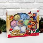 """Набор новогодних шаров под раскраску 6 шт """"Праздник"""" с подвесом + краска 6 цв по 2 мл, кисть"""