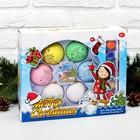 """Набор новогодних шаров под раскраску 6 шт """"Дед мороз"""" с подвесом +краска 6 цв по 2 мл, кисть"""
