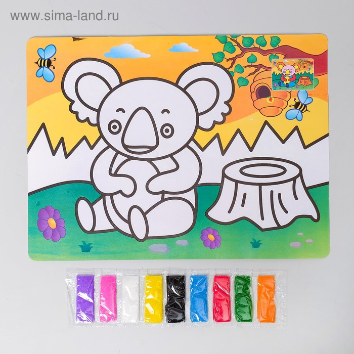 """Фреска с цветным основанием """"Коала"""" 9 цветов песка по 2 г"""