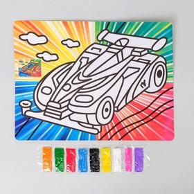 Фреска с цветным основанием 'Суперкар' 9 цветов песка по 2 г Ош