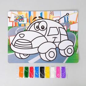 """Фреска с цветным основанием """"Машинка"""" 9 цветов песка по 2 г"""