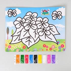 Фреска с цветным основанием 'Цветочки' 9 цветов песка по 2 г Ош