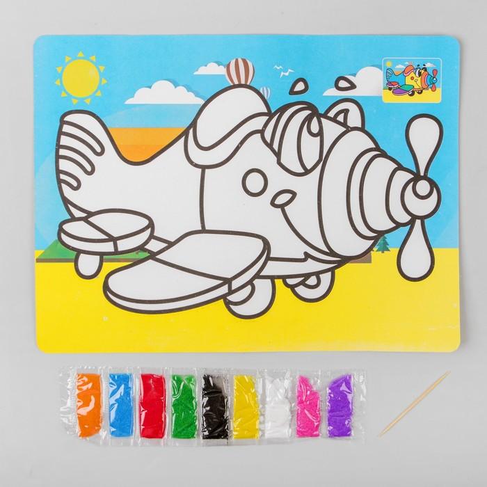 Фреска с цветным основанием «Самолетик» 9 цветов песка по 2 г