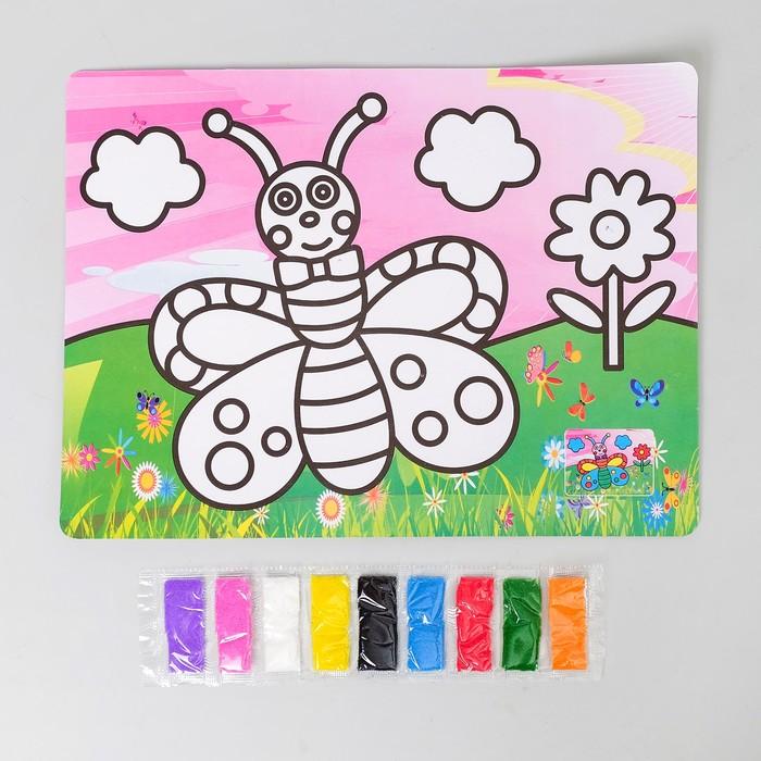 Фреска с цветным основанием «Бабочка-красавица» 9 цветов песка по 2 г