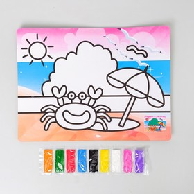 Фреска с цветным основанием «Краб» 9 цветов песка по 2 г