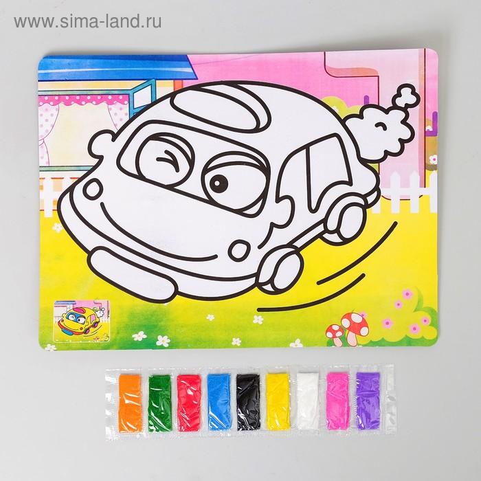 """Фреска с цветным основанием """"Машина"""" 9 цветов песка по 2 г"""