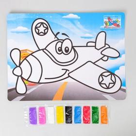 """Фреска с цветным основанием """"Самолет"""" 9 цветов песка по 2 г"""