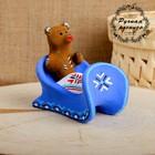 Сувенир «Медведь в санях», 10×7×9,5 см, каргопольская игрушка