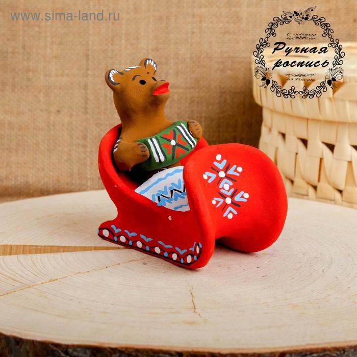 Сувенир «Медведь в санях с гармонью», 10×7×9,5 см, каргопольская игрушка
