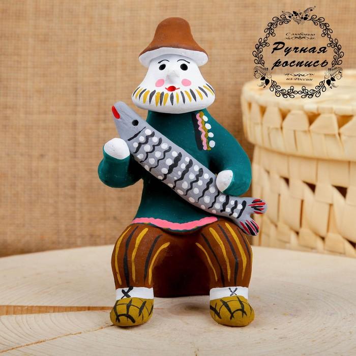 Сувенир «Мужик со щукой», 6×7×12,5 см, каргопольская игрушка