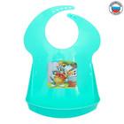 Нагрудник детский с аппликацией «Том и Джерри», цвет зелёный