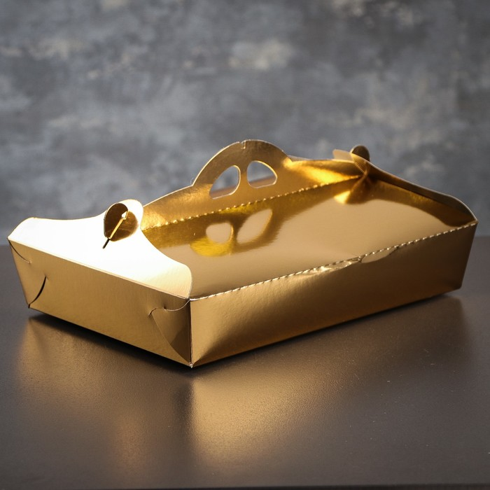 Упаковка для печенья и кексов, премиум, золото-серебро, 21 х 29 х 6 см - фото 171773797