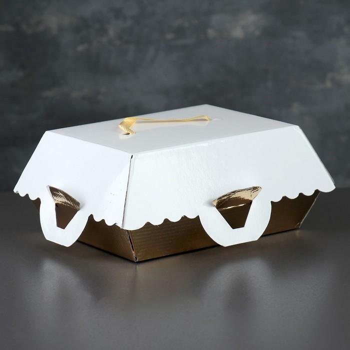 Упаковка для пирожных, BON BON, премиум, золотое основание, 16,5 x 13 x 10 см - фото 308035598