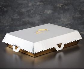 Коробка для пирожных, BON BON, премиум, золотое основание, 27,5 x 18,5 x 10 см