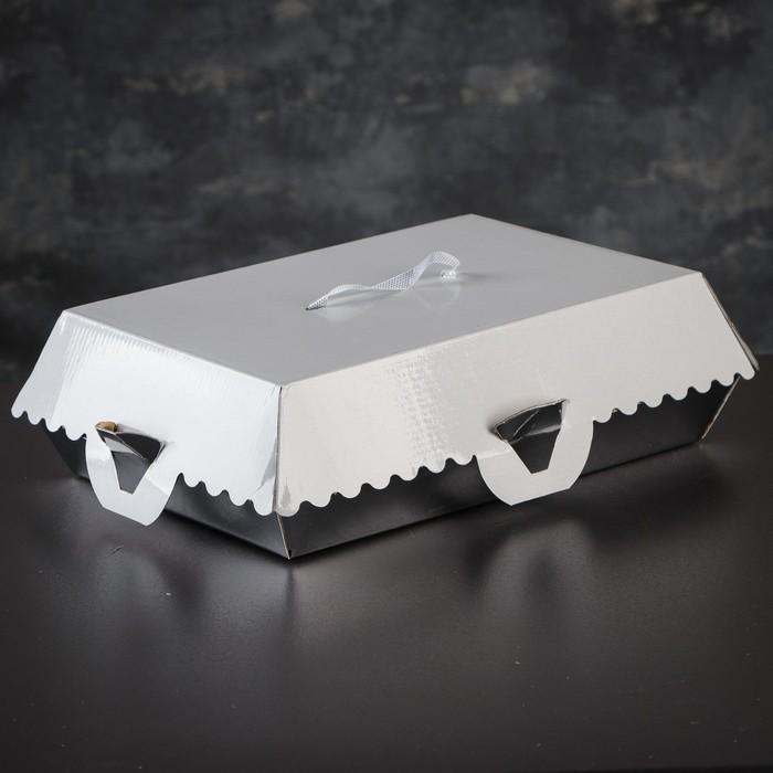 Упаковка для пирожных, BON BON, премиум, серебряное основание, 27,5 x 18,5 x 10 см