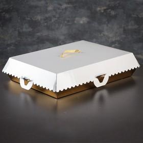 Коробка для пирожных, BON BON, премиум, золотое основание, 32 x 22 x 10 см