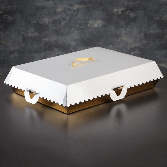 Коробка для пирожных, BON BON, премиум, золотое основание, 38,5 x 28 x 10 см