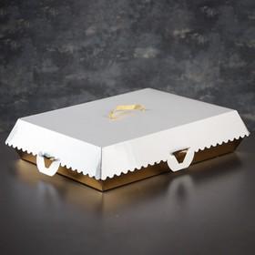 Коробка для пирожных, BON BON, премиум, золотое основание, 42,5 x 32,5 x 10 см