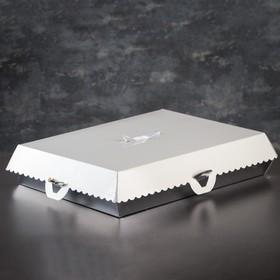 Коробка для пирожных, BON BON, премиум, серебряное основание, 42,5 x 32,5 x 10 см