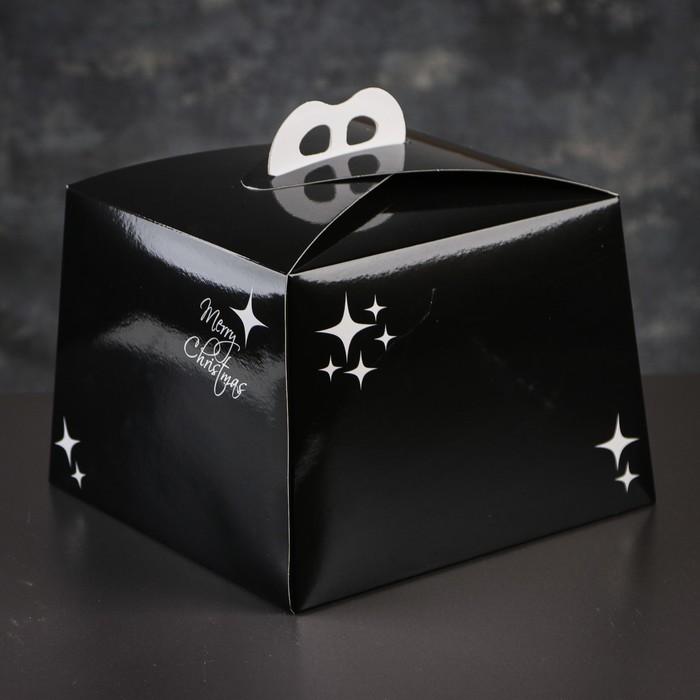 Упаковка для торта, премиум, NEW YEAR, чёрная, 25 х 25 см х 18 см