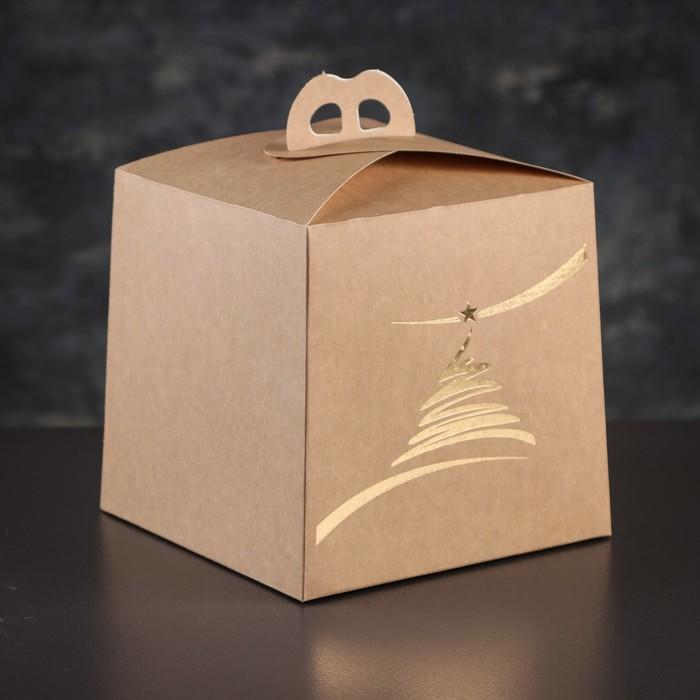 Упаковка для торта, премиум, NEW YEAR, крафт с золотом, 20,4 х 20,4 х 19 см