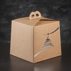 Упаковка для торта, премиум, NEW YEAR, крафт с серебром, 20,4 х 20,4 х 19 см - фото 308015082