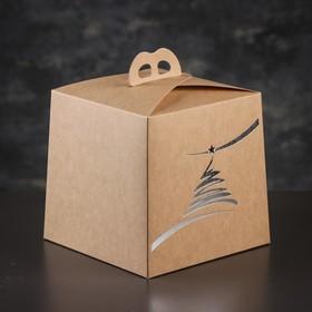 Упаковка для торта, премиум, NEW YEAR, крафт с серебром, 20,4 х 20,4 х 19 см