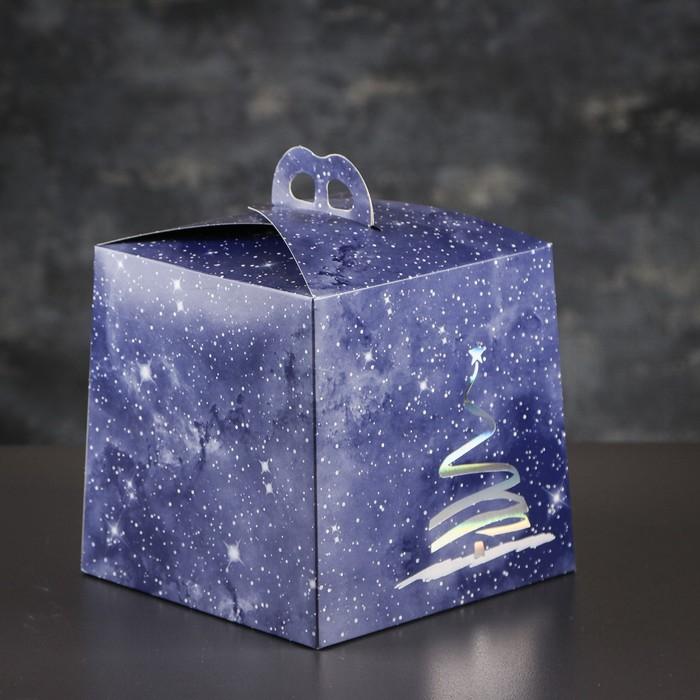 Упаковка для торта, премиум, NEW YEAR, синяя с серебром, 20,4 х 20,4 х 19 см