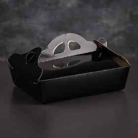 Упаковка для печенья и кексов, премиум, черно-золотая, 13 х 19 х 6 см