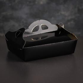 Упаковка для печенья и кексов, премиум, черно-золотая, 17 х 24 х 6 см