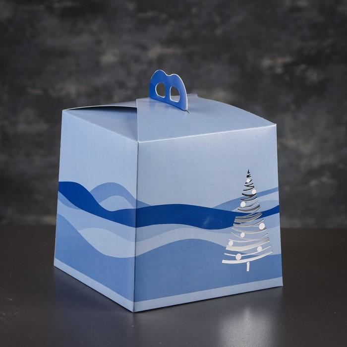 Упаковка для торта, премиум, BLUE WINTER, 20,4 х 20,4 х 19 см