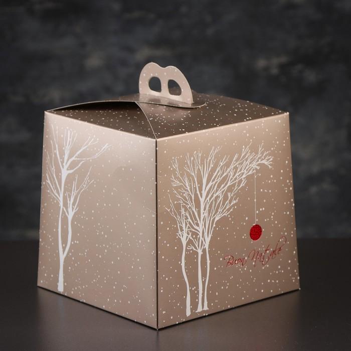 Упаковка для торта, премиум, WHITE WINTER, 20,4 х 20,4 х 19 см