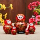 Матрёшка «Хохлома», красное платье, 5 кукольная, 8 см