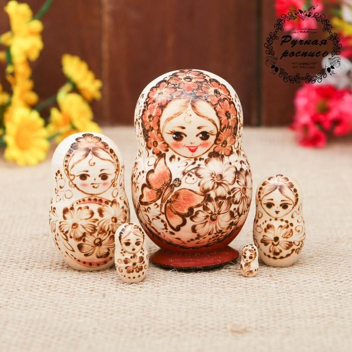 Матрёшка «Бабочка», жжёнка, 5 кукольная, 9 см