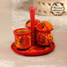 """Set for spices """"Mushrooms"""", 4 pieces, Khokhloma"""