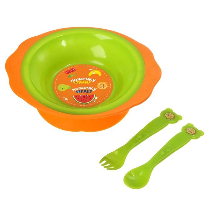 Набор посуды «Фруктовое счастье», 3 предмета: тарелка на присоске 250 мл, вилка, ложка